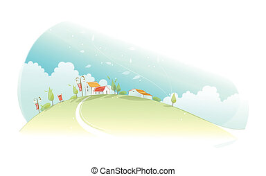 Rural houses on green mountain - This illustration is a...