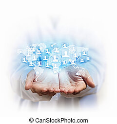 social network - human models connected together in a social...