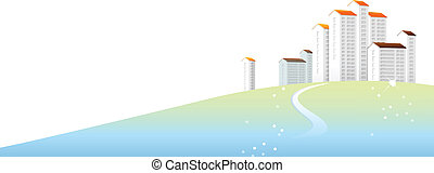 Curved path towards building - This illustration is a common...