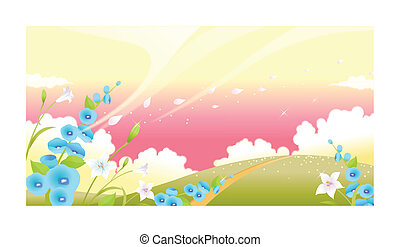 Green landscape with flowers and sky