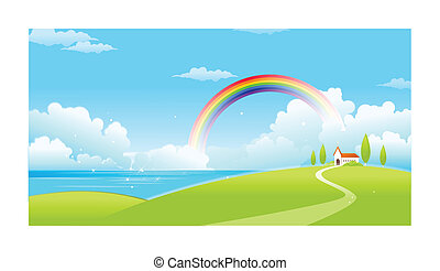 Sea landscape with a rainbow in the background