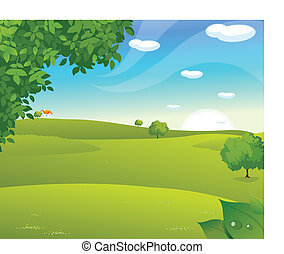 Sunrise over a green landscape - This illustration is a...