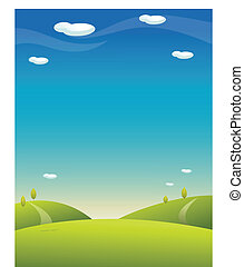 Rolling landscape with blue sky - This illustration is a...