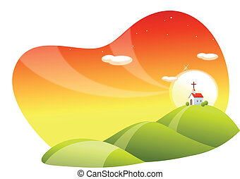 landscape and church - This illustration is a common natural...