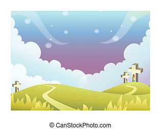 Cross on rolling landscape - This illustration is a common...