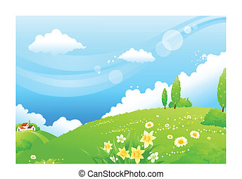 Rolling landscape - This illustration is a common natural...