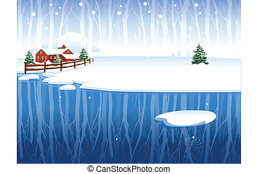 Winter rural scene - This illustration is a common natural...
