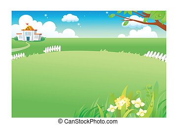 Rural green landscape - This illustration is a common...