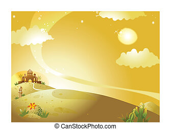 Mosque on desert - This illustration is a common natural...