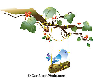 Bird swinging - This illustration is a common natural...