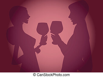 Silhouette of couple toasting