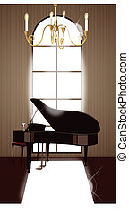 House interior with grand piano - This illustration is a...