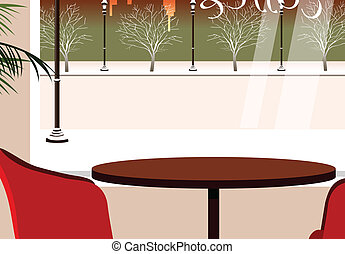 Table for two in cafeteria