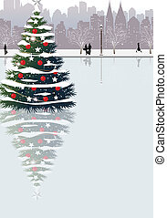 Christmas tree on street - This illustration is a common...