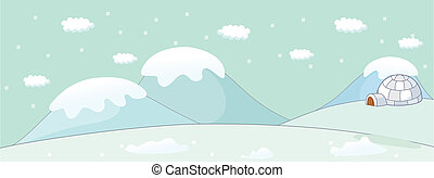 Igloo on a winter landscape - This illustration is a common...