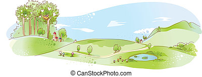 Rural scene with pond