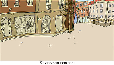 Window display - This illustration is a common cityscape.