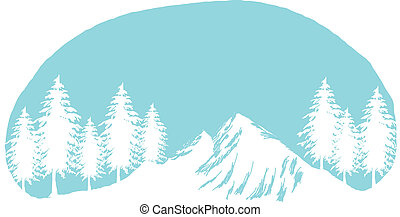 snow mountain peak and tree - This illustration is a common...