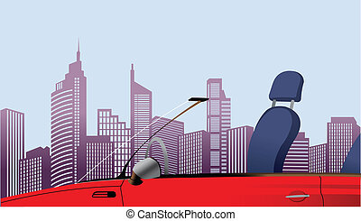 Close-up of car in front of city sk - This illustration is a...