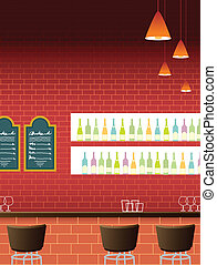 bar interior - This illustration is a common cityscape.