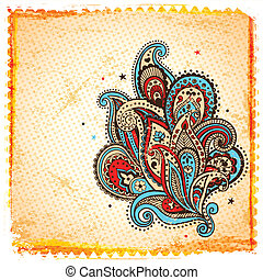 Ethnic paisley ornament on the vintage background