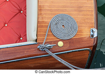Luxury wooden motor boat - details - Details of a classical...
