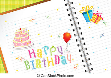 Birthday Diary - illustration of birthday element sticker in...