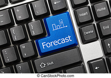 Conceptual keyboard - Forecast (blue key) - Close up view on...