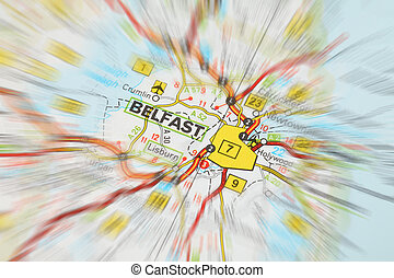 Destination - Belfast zoom effect - Tourist conceptual...