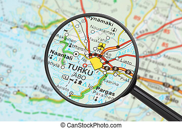 Destination - Turku with magnifying glass - Tourist...