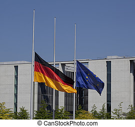 Germany flag on half-mast Trauerbeflaggung Bundestag -...