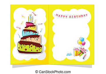 Birthday Card - illustration of cake and gift boxes in...