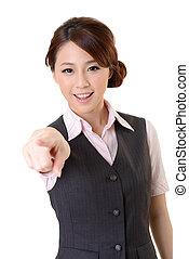 point at you - Young Asian business woman pointed at you,...