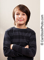 Real People Portrait: Waist Up, Pre-Teen Boy - Waist level...