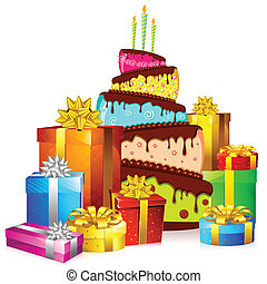 cake with colorful gift boxes