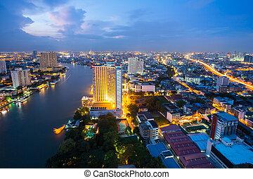 Bangkok at dusk Thailand - Aerial view of Bangkok Skyline...