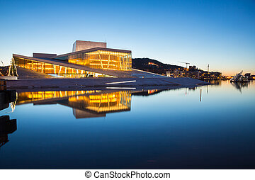 Oslo Opera House shine at dusk, morning twilight, Norway