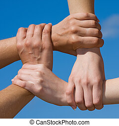 pareja, Manos, de conexión, cadena, cielo