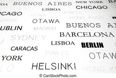 Text cities, detail of cities worldwide, tourism
