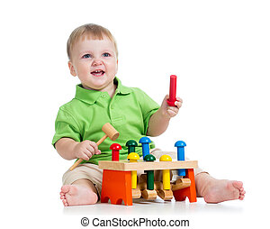 kid playing toy isolated on white background