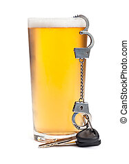 Keys, Cuffs, and Alcohol - A pint of beer with a miniature...