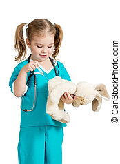 Adorable child with clothes of doctor with hare toy over white