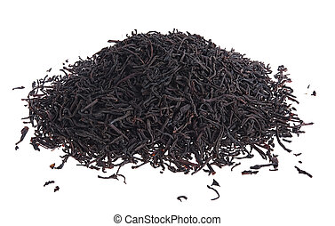 loose leaf black tea - Pile of loose leaf black tea isolated...