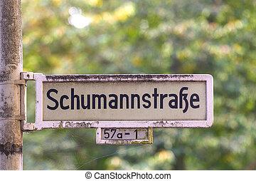 street shield named after musician Robert Schumann - street...