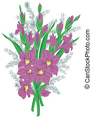 Bouquet of lilac gladioluses - Illustration of bouquet of...