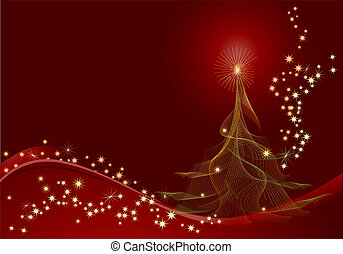 red christmas background - Red abstract background with...