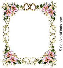 lirios, floral, boda, invitación