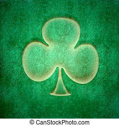 grunge three-leaf clover - grunge green background, three...