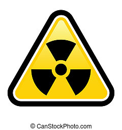 Warning radiation sign - Yellow triangle sign with a...