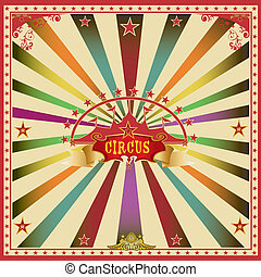 Square circus color card - A wonderful circus card with...
